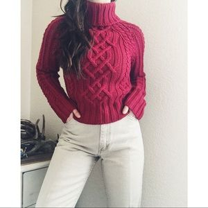 NWT Express Cable Hand Knit Turtleneck